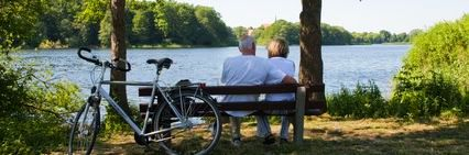 Mature couple enjoying landscape